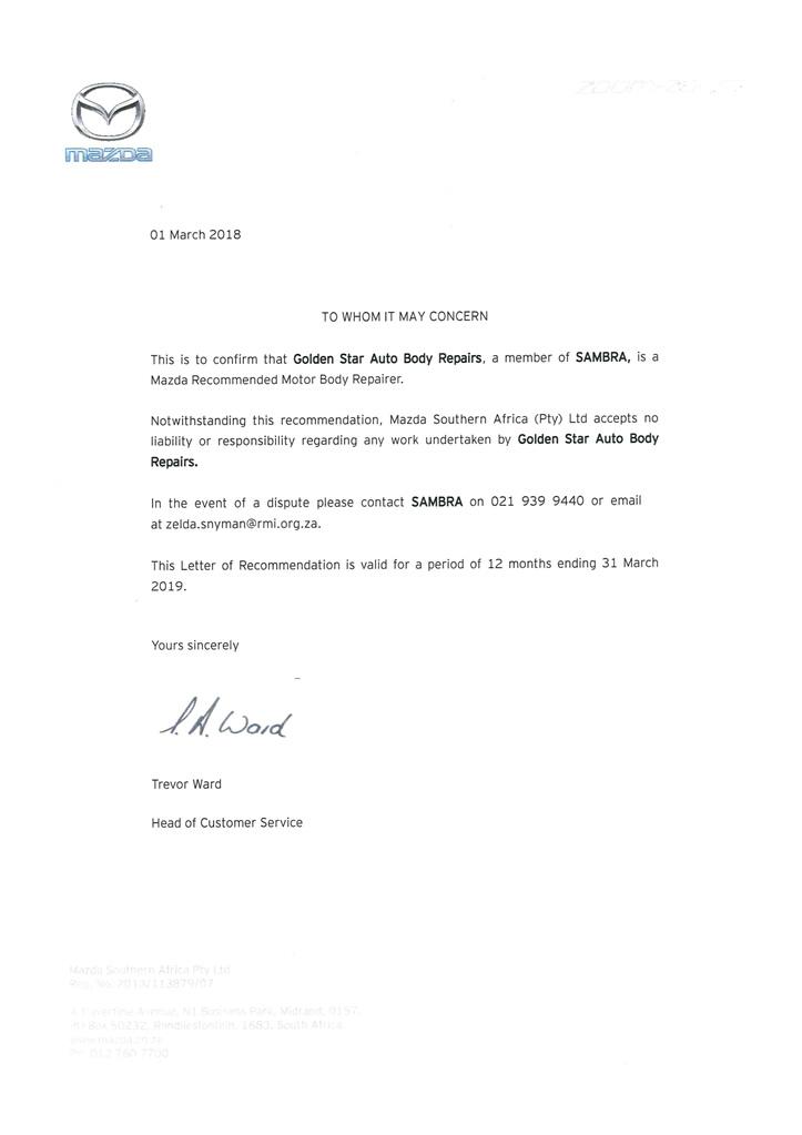 Mazda Letter